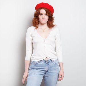 Ann Taylor Silk/Cashmere Blend Cream Cardigan